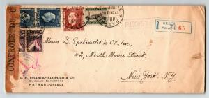 Greece 1937 Registered Censored Cover to USA - Z13590