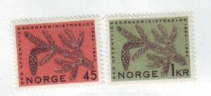 Norway Sc 406-7 1962 Fir cone & branch stamp set mint NH