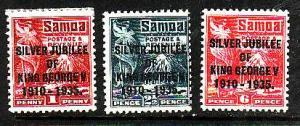 Samoa-Sc#163-5-Unused hinged og  set-KGV-Silver Jubilee-1935-