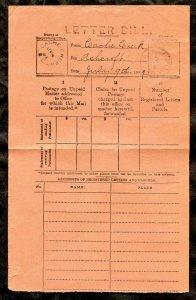p901 - CACHE CREEK BC 1889 Split Ring on Letter Bill