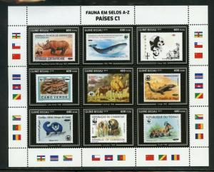 GUINEA BISSAU 2019 FAUNA ON STAMPS WWF  SHEET II  MINT NEVER HINGED