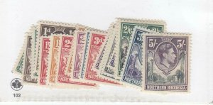 NORTHERN RHODESIA # 25-45 VF-MLH/MH KGV1 ISSUES TO 5sh