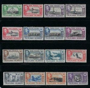 FALKLAND IS. SCOTT #84-96 1938-46  GEORGE VI PICTORIALS-  MINT XLH