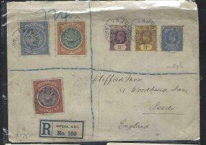 LEEWARD ISLANDS(P2808BB)1911 KE 2D+2 1/2D+3D+ANTIGUA 2D+3D+2 1/2D REG TO ENGLAND