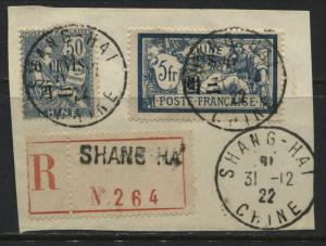 France Offices in China 1922 overprinted 20¢ on 50¢ & $1 on 5 francs used