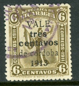 Nicaragua 1913 Liberty Gold Currency 3¢/6¢ Olive Sc 324 VFU Q543