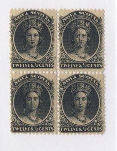 4x Nova Scotia Stamps Block of 4 #13-12 1/2c 2x MNH 2x MH. Guide Value = $200.00
