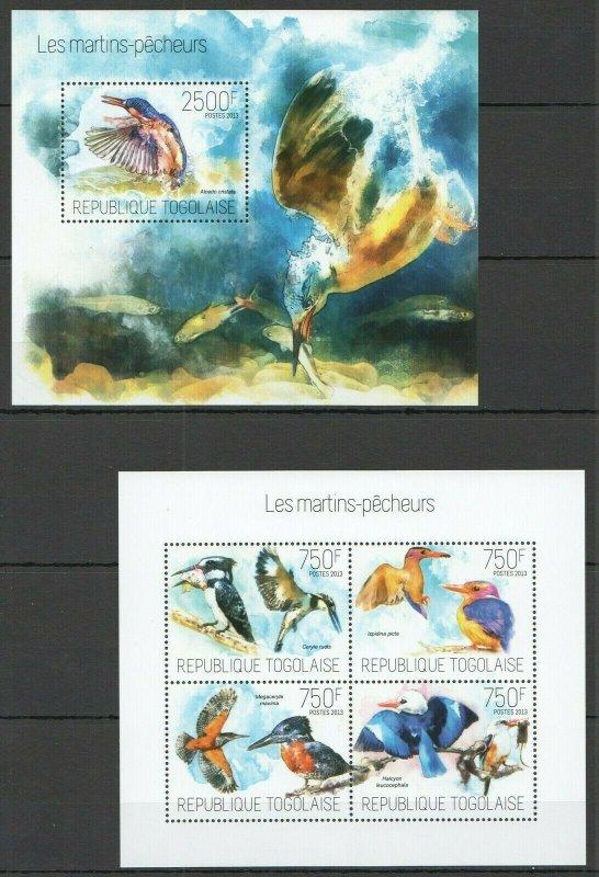 TG754 2013 TOGO FAUNA BIRDS KINGFISCHER LES MARTINS-PECHEURS KB+BL MNH