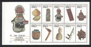 South Africa Year of Cultural Experience Booklet pane of 10v SG#966-975