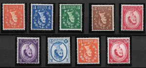 1958-65 Wilding Multi-Crowns Inverted Set of 9 UNMOUNTED MINT