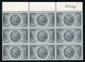 Barbados SG301 1953 2.40 Dollars (top value) Block of 9 U/M (lightly toned)