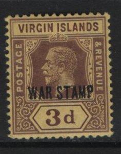 VIRGIN ISLANDS, MR2, HINGED REMNANT, 1916-17, Overprinted