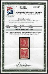 #368 U.S.AUTOMATIC VENDING PERFS 1909 2c IMPERF ISSUE MINT-ph 2007 PSE:XF 90