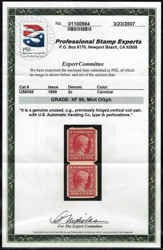 #368 U.S.AUTOMATIC VENDING PERFS 1909 2c IMPERF ISSUE MINT-ph 2007 PSE:XF 90