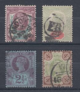 Great Britain Sc 112/116 used 1887-1892 Queen Victoria, 4 different