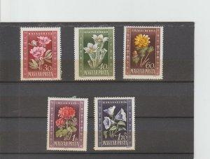 Hungary  Scott#  906-910  MH  (1950 Peonies)