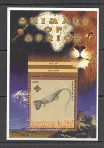 I0993 2005 MALAWI FAUNA WILD CATS ANIMALS OF AFRICA REPTILES BL MNH