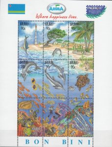 Aruba MNH S/S 150 Marine Life 1997 9 Stamps