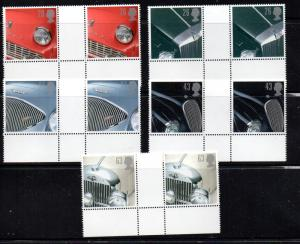 Great Britain Sc 1703-7 1996 Car stamps gutter prs NH