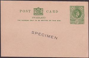 SWAZILAND GVI ½d postcard overprinted SPECIMEN - fine & very scarce
