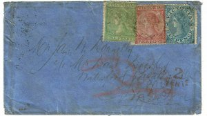 Victoria 1870 Castlemaine cancel on cover to the U.S.
