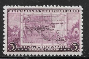 USA 783: 3c Map of Oregon Territory, MNH, F-VF