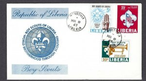 1965 Liberia Boy Scouts flag bugle FDC