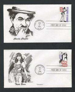United States Scott #2819-2828, Silent Screen 10 FDC and 10 Maximum Cards