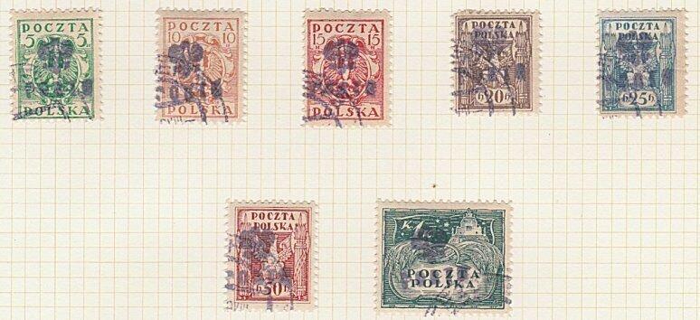 POLAND 1919 Cieszyn local overprint postage dues - 7 used ..................A600