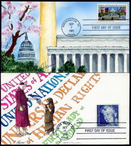 #2105, 2561, 2955, 3897 (4) DIFFERENT HAND PAINTED HAM FDC CACHET BP0963