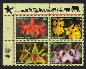 UN Geneva Orchids Endangered Species 13th Series Block of 4v SG#G498-G501 SALE