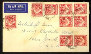 NORTHERN RHODESIA 1948 KGVI Flown Cover NDOLA to NYC USA 9x 2d Sc 32