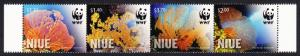 Niue WWF Giant Sea Fan Corals strip of 4v SALE BELOW FACE VALUE