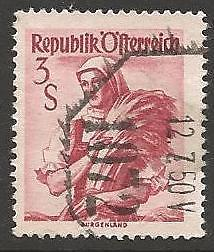AUSTRIA SG1139 1949 3s DULL RED USED