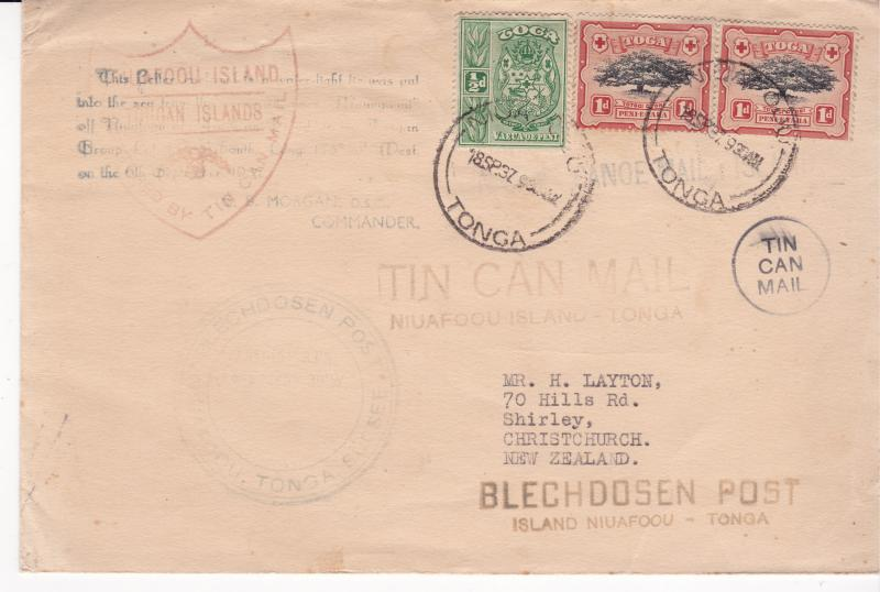 Tonga a Tin Can mail cover from 1937