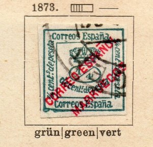 Spain 1873 Early Issue Fine Used 1/4c. Optd NW-16583