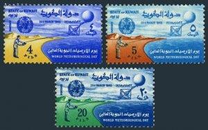 Kuwait 272-274,MNH.Michel 269-271. Meteorological Day,1965.Weather balloon.