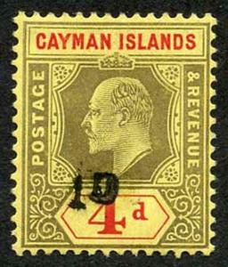 Cayman Islands KEVII 1d on 4d Opt (See note above SG38 in Cat) M/M