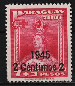 Paraguay 1945 Surcharge on '1941 Mother's Fund' (7P+3P)+2c (1/8) UNUSED