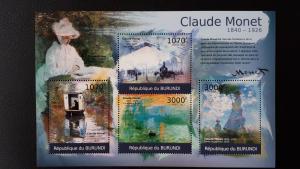 Art - Burundi 2012. -  Claude Monet ** MNH Sheet