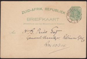 TRANSVAAL 1897 ½d postcard used - printed messge Cambrian Society..........68609