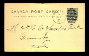 Canada 1911 Paris ONT Crisp Duplex Cancel Card - L27876