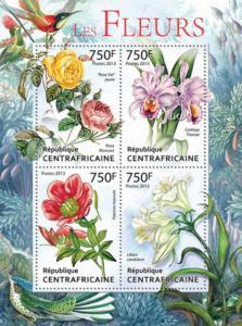 Central Africa - Roses & Birds - 4 Stamp Sheet - 3H-496