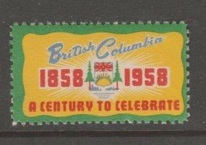 Cinderella or revenue Stamps 6-19-21- Canada mnh gum 1958 British Columbia