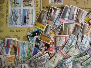 Scrap pile of 60 FALKLAND ISLANDS. Duplicates, mixed condition,what lurks?