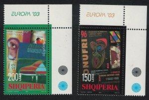 Albania Poster Act Europa CEPT 2v Corners Europa 2003 MNH SG#2960-2961