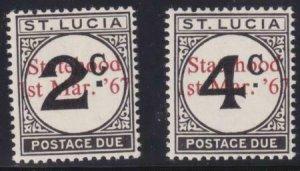 St Lucia 1965 SC J11-J12 Note MLH