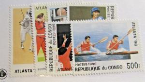 REPUBLIQUE DE CONGO  Scott #1102-07 ** MNH , '96 Olympic stamp set, fine +