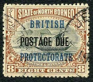 North Borneo SGD43a 8c No Spot after PROTECTORATE used Cat 28 Pounds