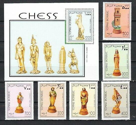 Somali Rep. 1997 Cinderella issue. Chess set & s/sheet. *